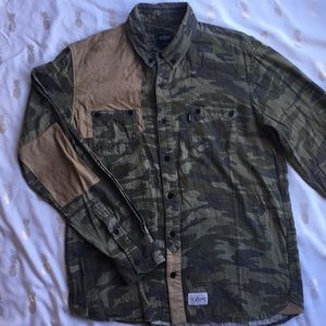 Camo and microfiber patch button down